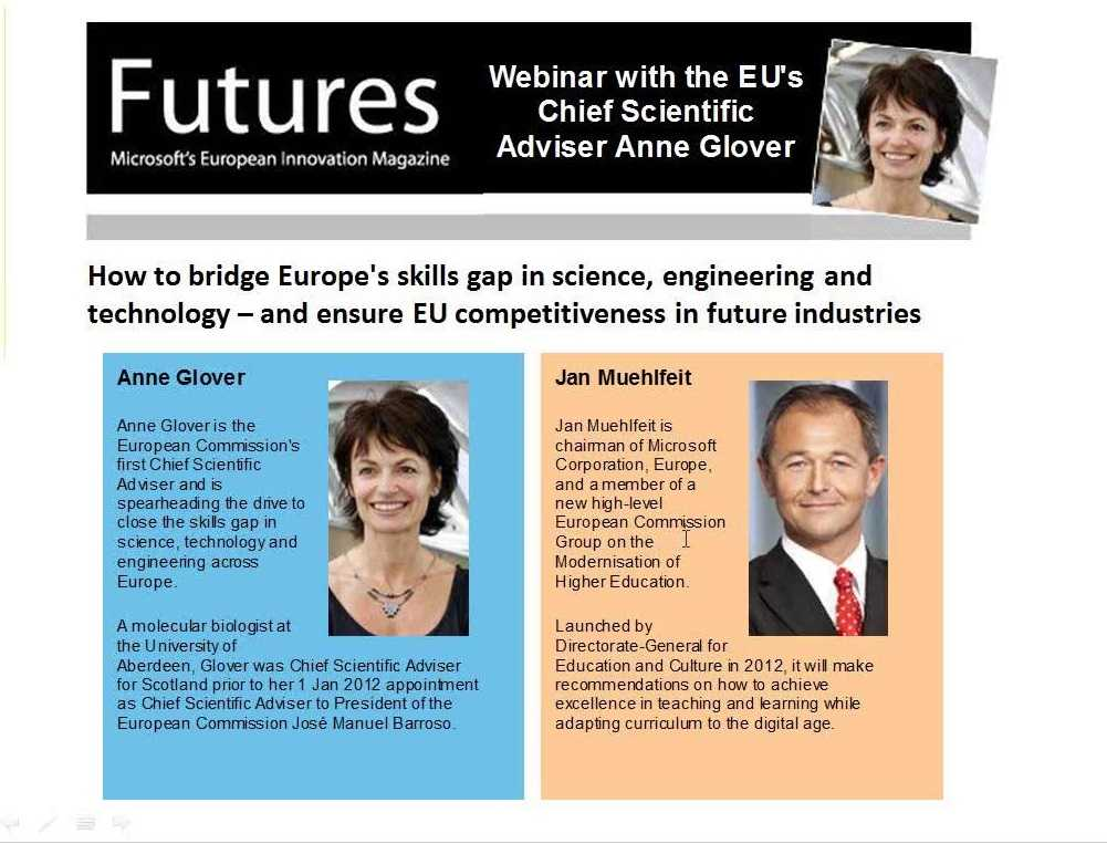 Webinar with Anne Glover, European Commission & Jan Muehlfeit, Microsoft